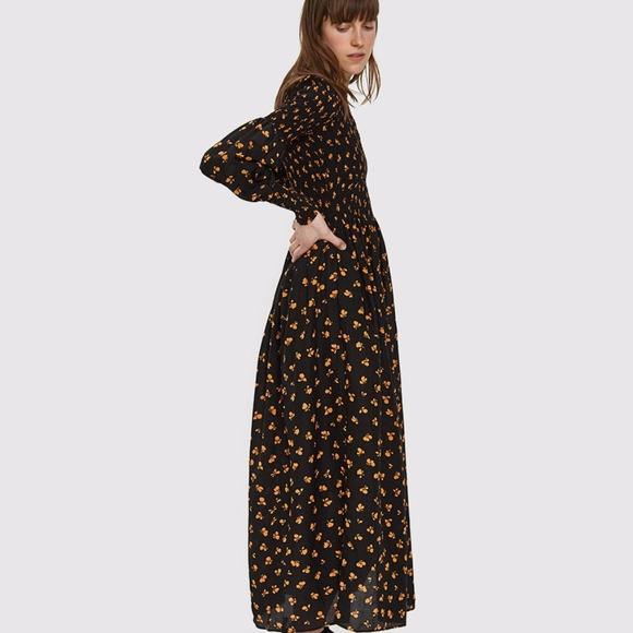 bb9cbec0 Ganni Dresses | Beacon Smocked Dress In Black Size 34 Xs | Poshmark